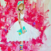 Be You- 68 x 66 Sold- single girl white dress, bold hot pink background